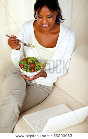 Adult Woman Eating Healthy Green Salad