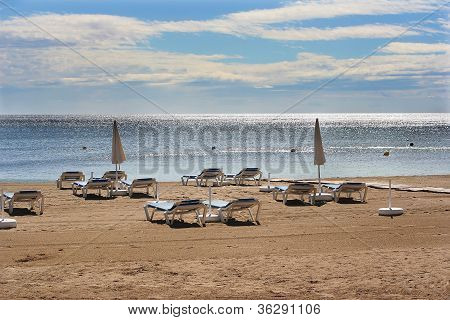Empty Beach Chairs Ibiza
