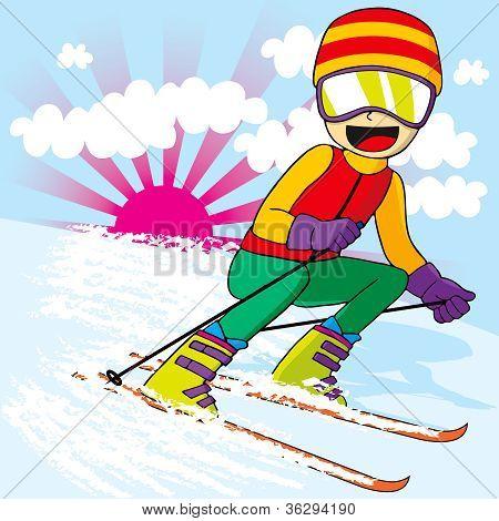 Teen Skiing Fast