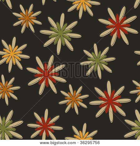 Retro Seamless Flower Background Dark