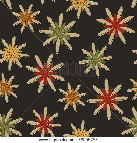 Retro Seamless Flower Background Dark