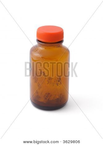 Empty Glass Bottle And Silica Gel Inside