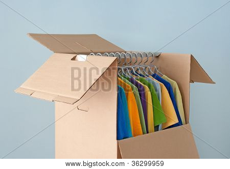 Multicolored Clothes In A Wardrobe Box For Easy Moving