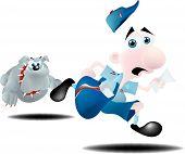 Mailman Running From Dog