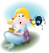 stock photo of mother goose  - Little miss Muffet sat on her tuffet along came a spider - JPG