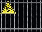 pic of biological hazard  - Steel reinforcing rods of the grill biological hazard - JPG