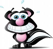 picture of skunk  - a cute skunk with a great big nervous smile in his face - JPG