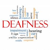 picture of inner ear  - Deafness Word Cloud Concept with great terms such as nerve deaf hearing ear aid silence and more - JPG