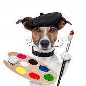 stock photo of working animal  - painter artist dog color palette and brush - JPG