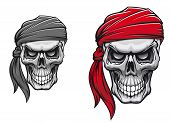 stock photo of buccaneer  - Danger pirate skull in bandane for tattoo or t - JPG