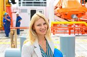 foto of shipbuilding  - Woman engineer shipbuilder at the dutch shipyard - JPG