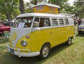 Yellow & White 1966 Vw Camper Side View
