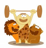 image of tarzan  - Cartoon Tarzan boy is a heavy weightlifter - JPG