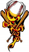 picture of fastpitch  - Graphic Image of Flames Surrounding Baseball and Crossed Bats - JPG