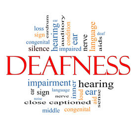stock photo of inner ear  - Deafness Word Cloud Concept with great terms such as nerve deaf hearing ear aid silence and more - JPG