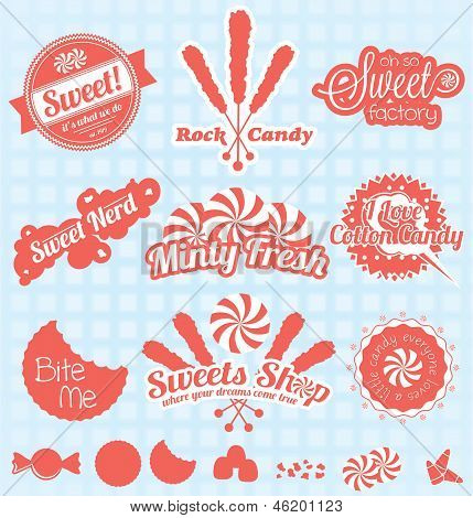 Vector Set: Retro caramelo etiquetas e iconos