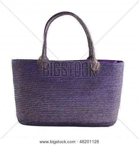 Purple Metallic Basket Tote