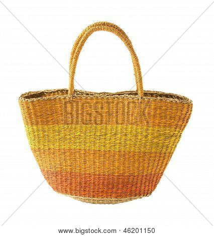 Striped Yellow Orange Basket Tote