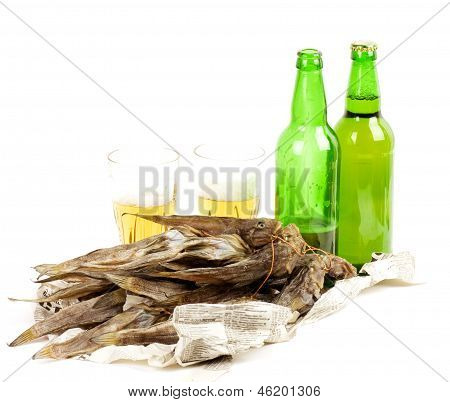 Beer green bottles on white background