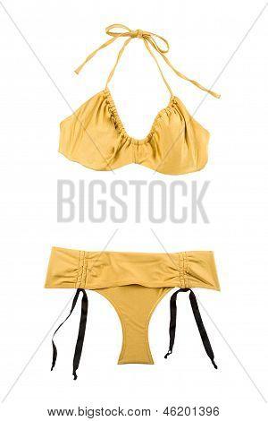 Golden Metallized Halter Bikini With Bows