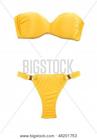 Yellow Bandeau Bikini With Two Big Gems