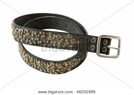 Color Studs Leather Belt