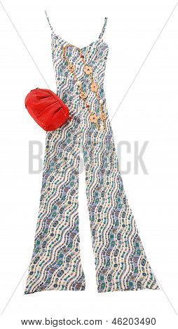 Flowers Print Jumpsuit Fashion Composition