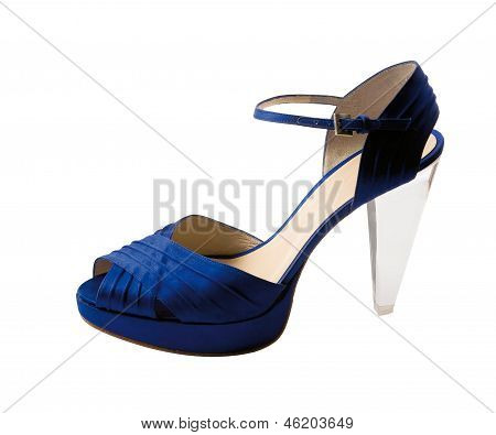 Transparent Heel Blue Peep Toe