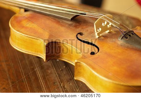 Close-up of an old violin