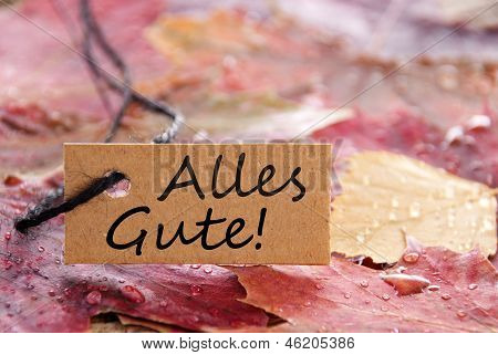 Fall Label With Alles Gute!