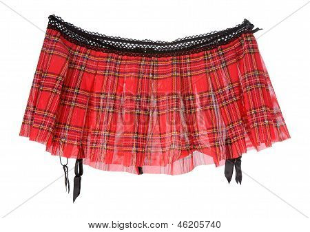 Red Tartan Mini Skirt With Suspenders