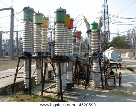 High Voltage Ceramic Isolator Equipment At A Power Plant