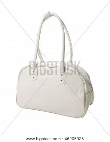 Retro White Leather Sport Bag