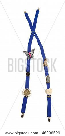 Blue Suspenders With Brooches And Jewels