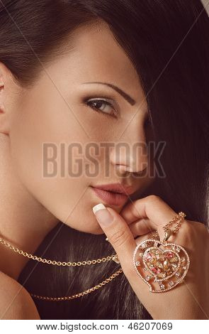 Fashion woman with jewelry precious decorations. Fashion portrait