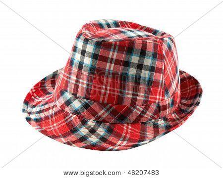 Chapéu Fedora de Tartan vermelho