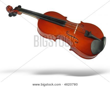 Musical Classic Violin With Shadow Isolated On White Background
