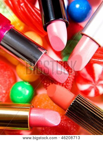 Beauty Still Life Candies Lipsticks Composition