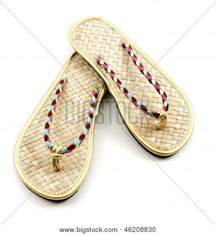 Raffia Golden Braided Flip Flop Sandals
