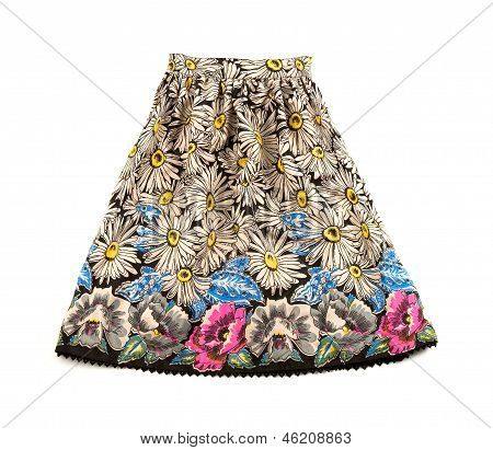 Hand Drawn Flowers Pattern Evase Skirt With Lace