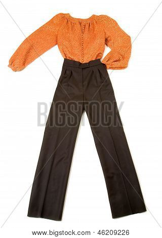 Metallized Orange Blouse Fashion Look Still Life