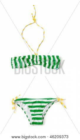Yellow And Green Striped Bandeau Bikini