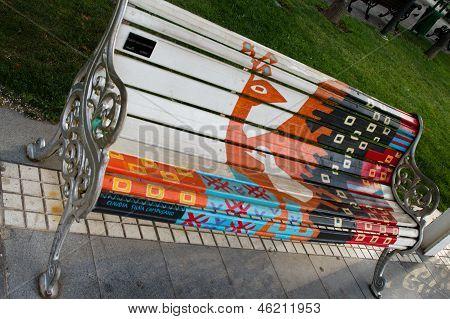 artistic painter bench in Santiago