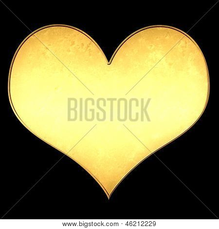 Heart Poker Card Symbol Gold