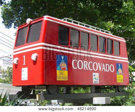 Concovado tram car in Rio de Janeiro, Brazil