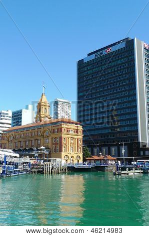 Auckland harbor and Downtown Ferry Terminal