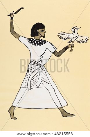 Ancient Egyptian Costume Of Hunter