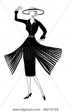 Dark Silk Dress With Sleeves And Pleating