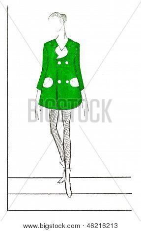 Short Mini Demi-season Green Coat In 60Th Years