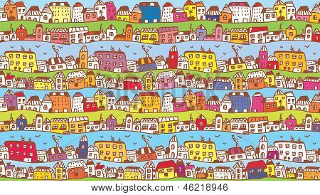Houses in the town funny background